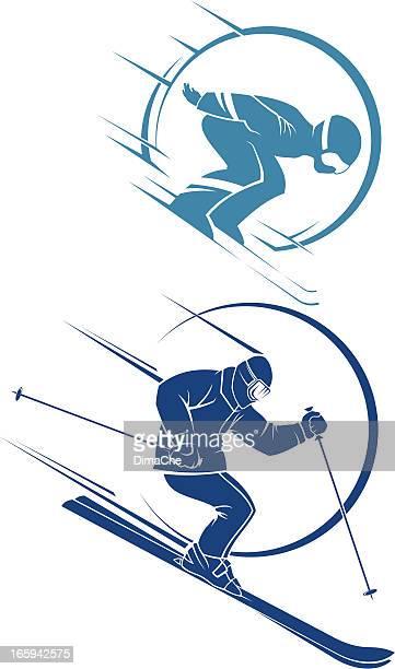 Dessin Skieur Humoristique illustrations et dessins animés de ski slalom |