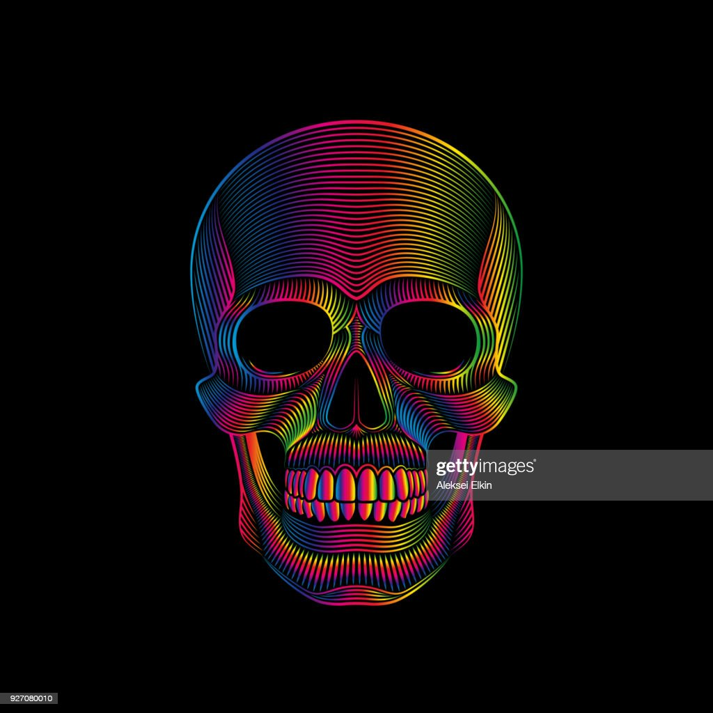Stylized skull in spectrum colors on black background