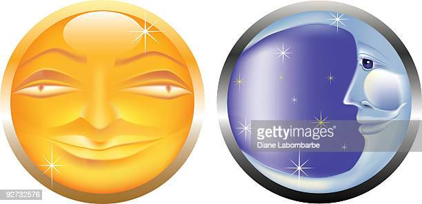 stylized sun & moon faces isolated on white background - man in the moon stock illustrations, clip art, cartoons, & icons