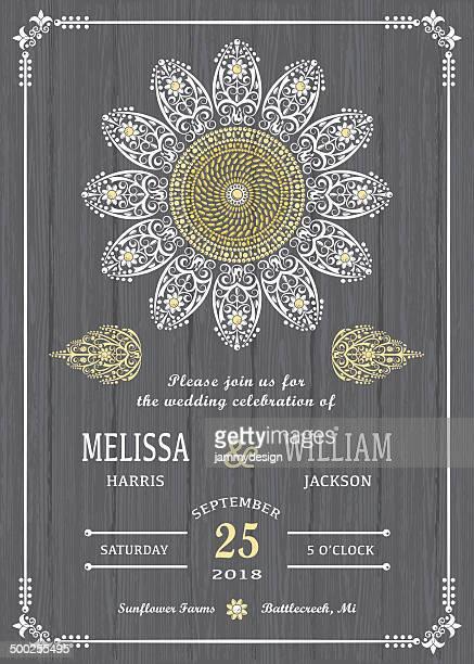 stylized sunflower on wood invitation - wedding invitation stock illustrations, clip art, cartoons, & icons