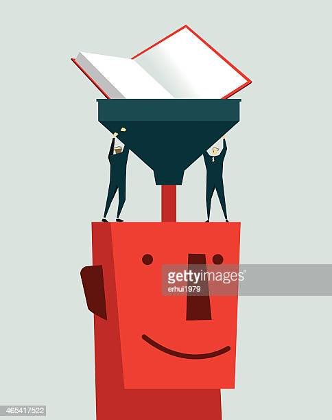 Stylized tiny people pouring books into a larger head