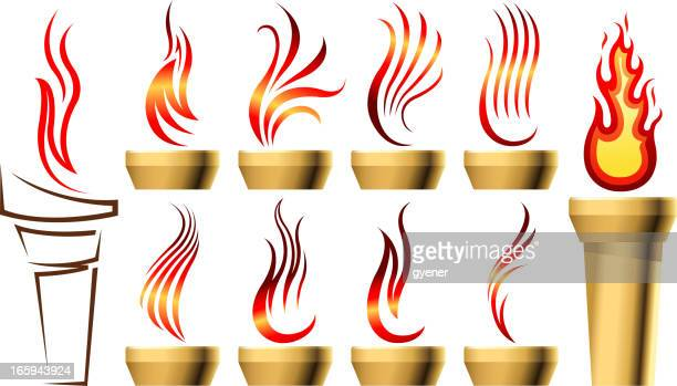 stylized torch set - sport torch stock illustrations, clip art, cartoons, & icons