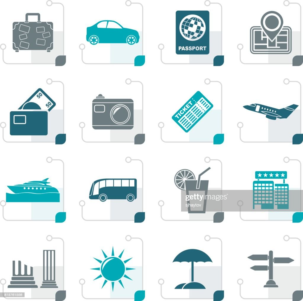 Stylized Travel and vacation icons