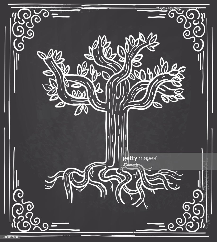 Stylized Tree Design On Chalkboard Background And Frame Vector Art