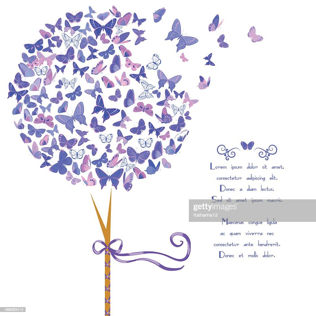 Stylized tree made of butterflies
