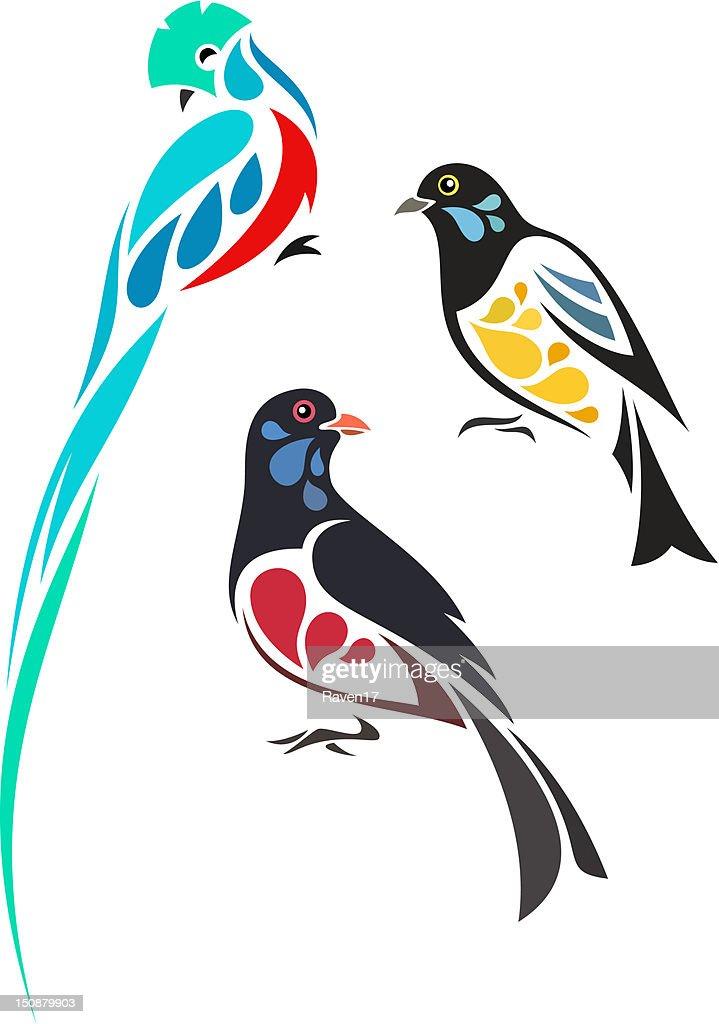 Stylized tropical birds