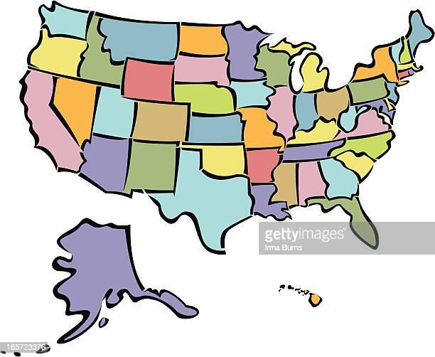ilustraciones, imágenes clip art, dibujos animados e iconos de stock de hermoso estados unidos mapa - maryland us state