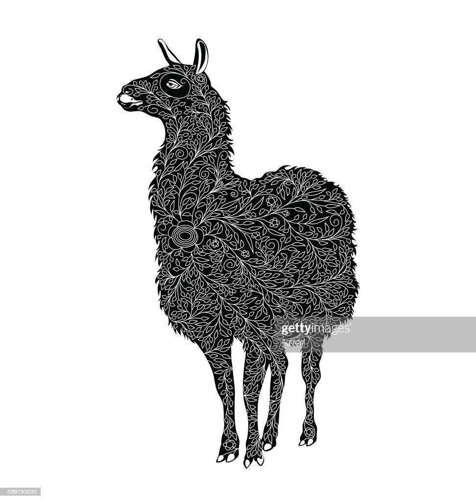 Stylized Vector Lama. black and white