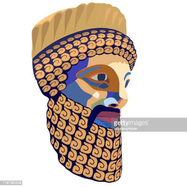 stylized vector portrait of the ancient king - ancient babylon stock illustrations