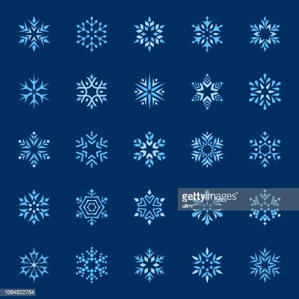 様式化されたベクトル雪片、アイコンを設定 - 尖っている点のイラスト素材/クリップアート素材/マンガ素材/アイコン素材