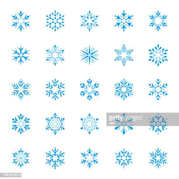 stilisierte vektor schneeflocken, icon-set - kristalle stock-grafiken, -clipart, -cartoons und -symbole