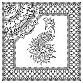 Stylized with henna tattoos decorative pattern for decorating covers book, notebook, casket, postcard and folder. Mandala, flower, peacock and border in mehndi style. Frame in the eastern tradition.