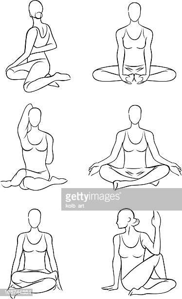 Stylized yoga illustrations - Seated