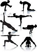 Stylized yoga silhouettes