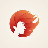 Stylizes woman's head with hair