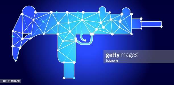 ilustraciones, imágenes clip art, dibujos animados e iconos de stock de ametralladora triángulo azul nodo vector patrón - submachine gun