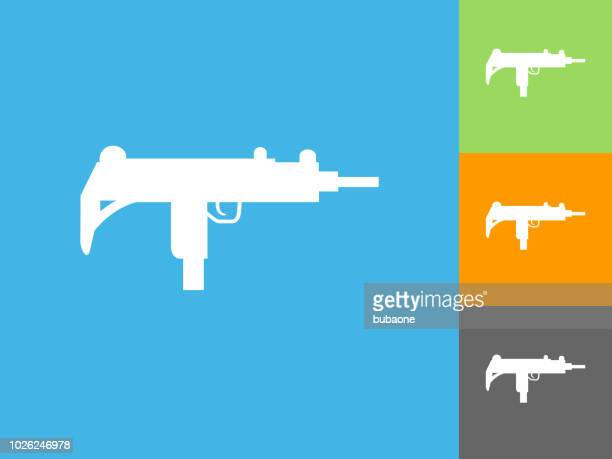ilustraciones, imágenes clip art, dibujos animados e iconos de stock de icono plano ametralladora sobre fondo azul - submachine gun