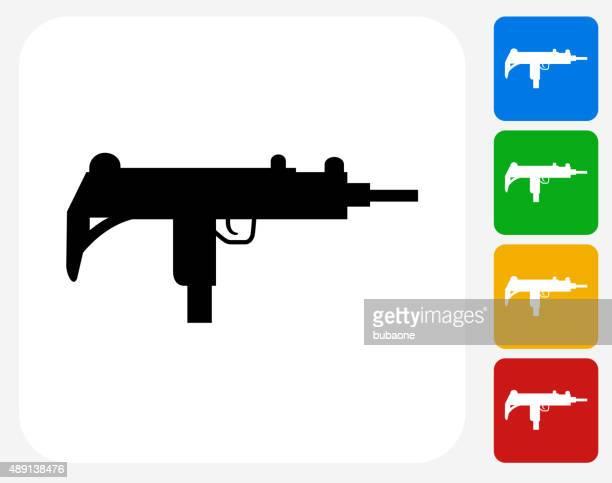 ilustraciones, imágenes clip art, dibujos animados e iconos de stock de sub-machine gun iconos planos de diseño gráfico - submachine gun