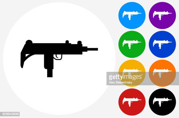 ilustraciones, imágenes clip art, dibujos animados e iconos de stock de sub-machine gun icon on flat color circle buttons - submachine gun