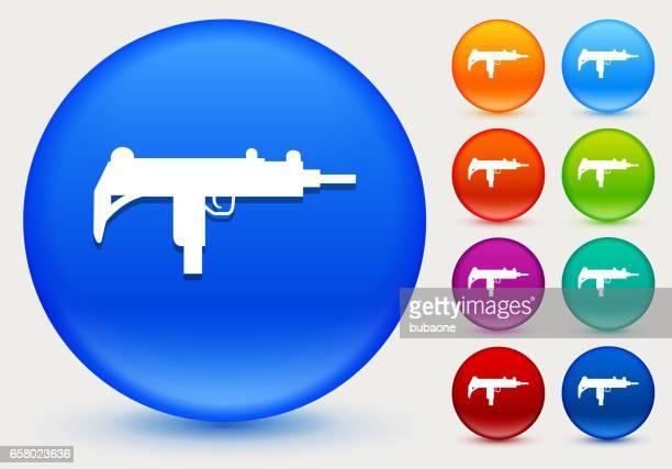 ilustraciones, imágenes clip art, dibujos animados e iconos de stock de icono de ametralladora en círculo brillante color botones - submachine gun