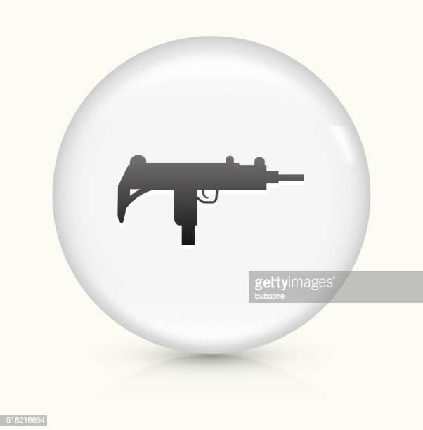 ilustraciones, imágenes clip art, dibujos animados e iconos de stock de sub-máquina de la pistola icono sobre blanco, vector de redondo botón - submachine gun