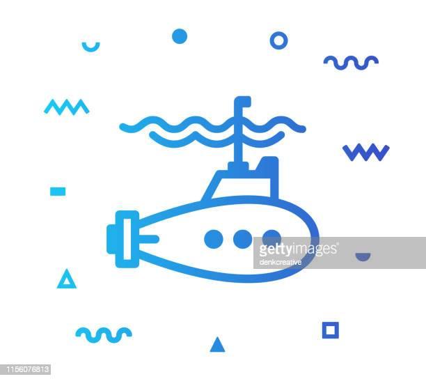サブマリンラインスタイルアイコンデザイン - 潜水艦点のイラスト素材/クリップアート素材/マンガ素材/アイコン素材