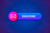 Subscribe button, banner with envelope icon in modern gradient style.
