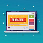 Subscribe button on a video channel. Idea for video streaming, blogs. Flat design style modern vector illustration concept.