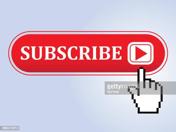 illustrazioni stock, clip art, cartoni animati e icone di tendenza di subscribe button with mouse pointer - supposta