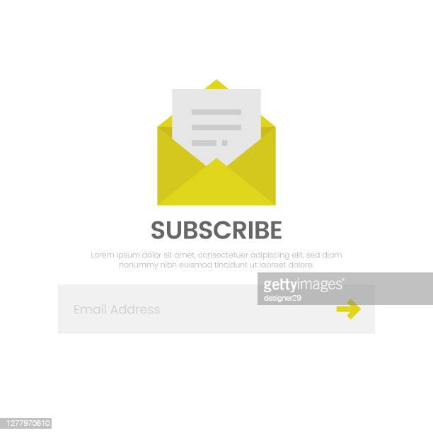 subscribe icon. email and newsletter flat design on white background. - send stock illustrations
