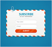 Subscribe to Newsletter Form. Vector