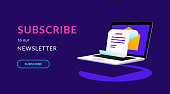 Subscribe to our weekly newsletter flat vector neon illustration