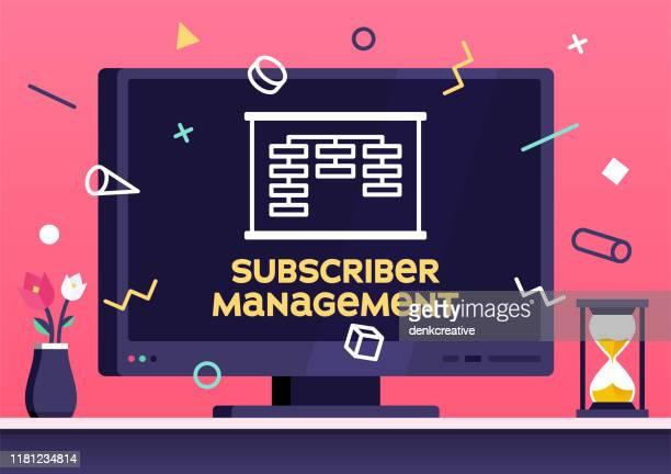 subscriber data management modern flat design concept - newsletter stock illustrations