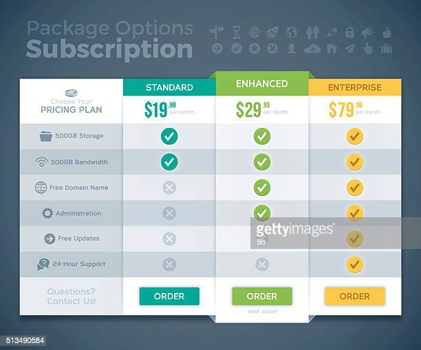 subscription package options pricing comparison - list stock illustrations, clip art, cartoons, & icons