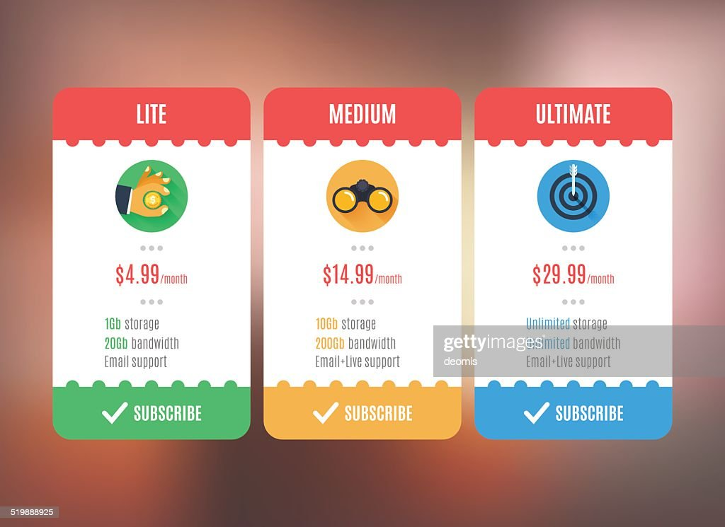 Subscription/pricing plan template.