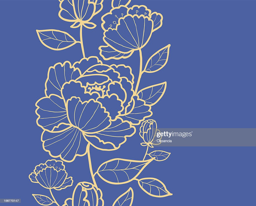 Subtle rose garden kimono oriental flowers vertical seamless pattern
