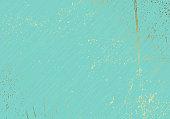 Subtle turquoise vector texture overlay. Abstract gold splattered glamour background. Dotted grain golden grunge backdrop. Festive christmas luxury backdrop