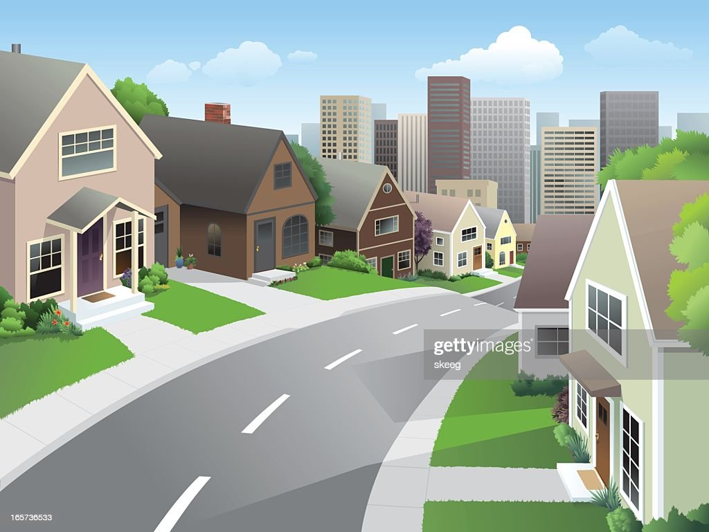 Suburb and City : stock illustration