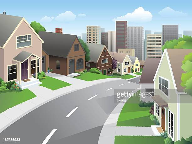 suburb and city - house exterior stock illustrations, clip art, cartoons, & icons