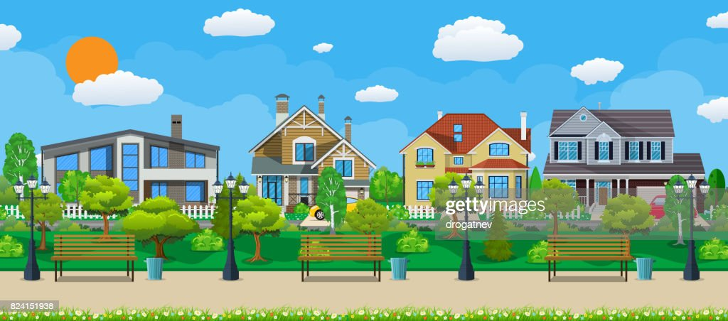 Suburb concept, wooden bench, street lamp