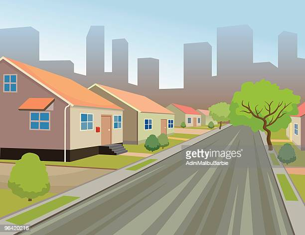 Suburban City Street on Skyline Background