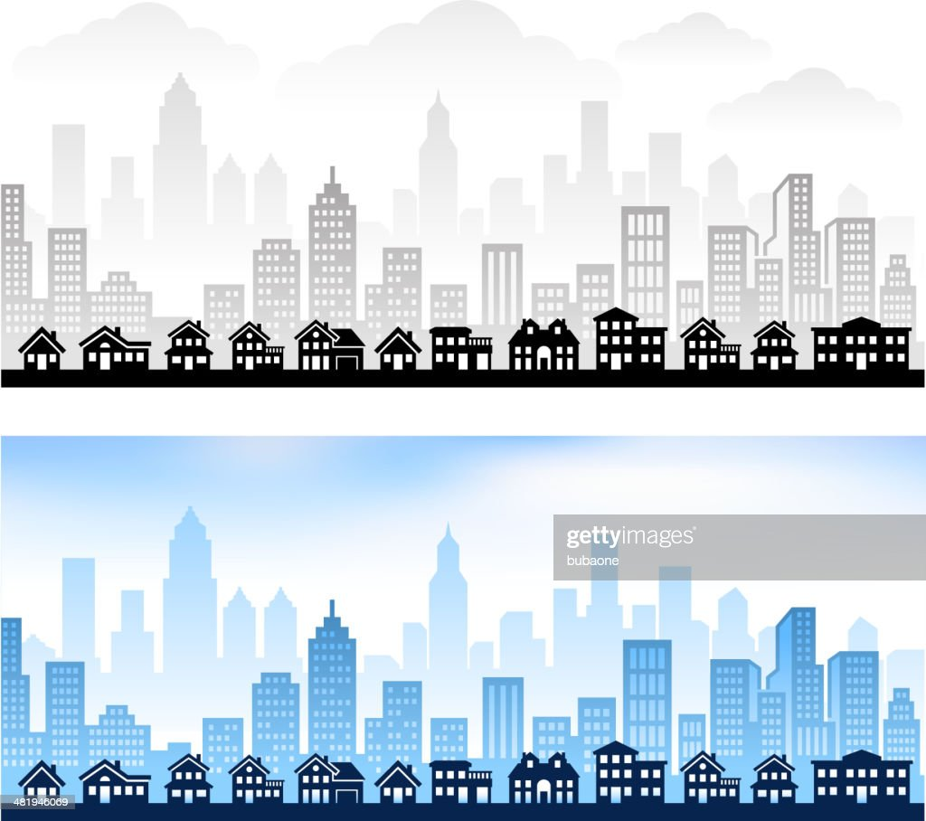Suburban Community with City skyline panoramic Royalty free vector graphic