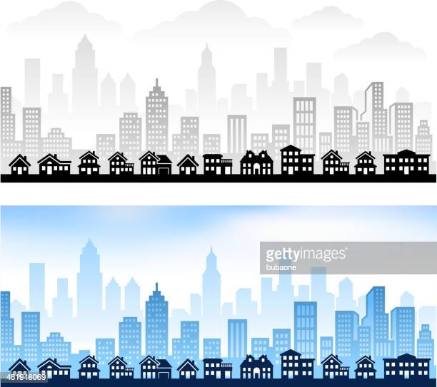 suburban community with city skyline panoramic royalty free vector graphic - town stock illustrations
