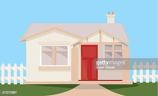 suburban cottage - bungalow stock illustrations, clip art, cartoons, & icons
