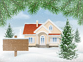 Suburban house in snow and sign for sale