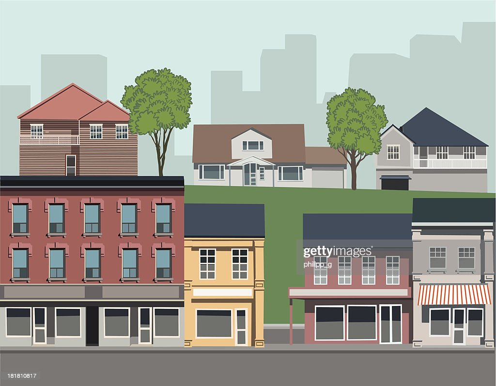 Suburban landscape with different types of housing : stock illustration