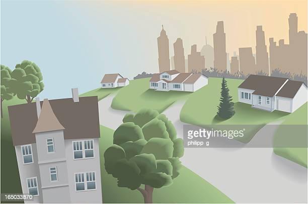 suburban neighbourhood near downtown - bungalow stock illustrations, clip art, cartoons, & icons