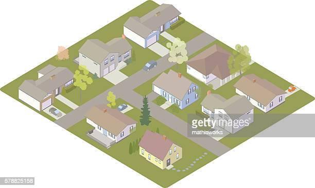 suburban subdivision - bungalow stock illustrations, clip art, cartoons, & icons