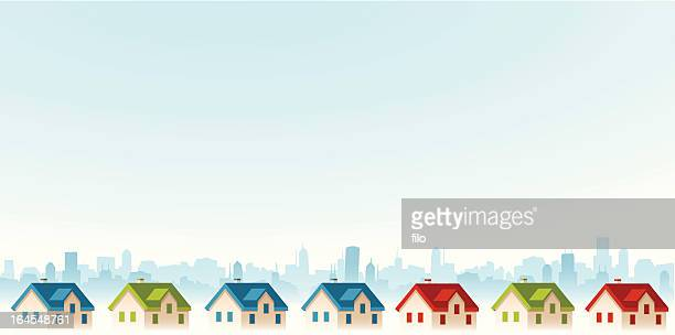 suburban view - housing difficulties stock illustrations