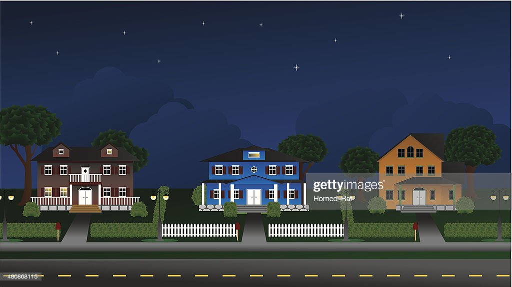 Suburbia - Houses at night - Illustration : stock illustration